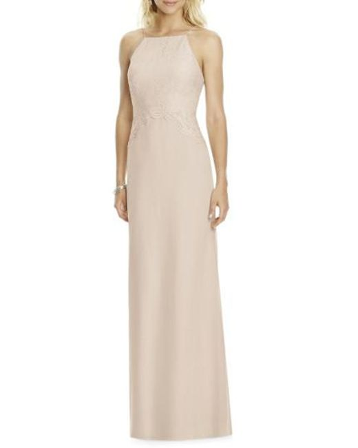 After Six - Natural Square Neck Lace & Chiffon Gown - Lyst