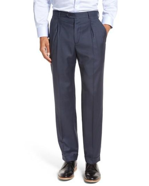 Santorelli | Blue 'luxury Serge' Double Pleated Wool Trousers for Men | Lyst