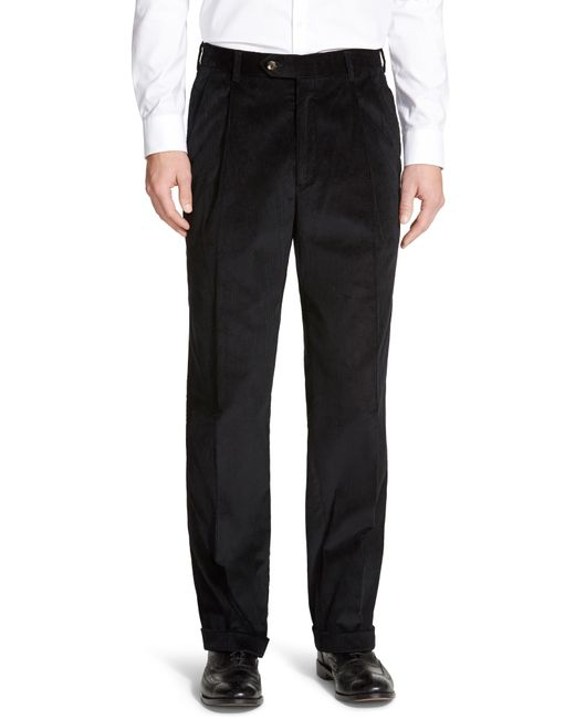 Berle Blue Pleated Classic Fit Corduroy Trousers for men