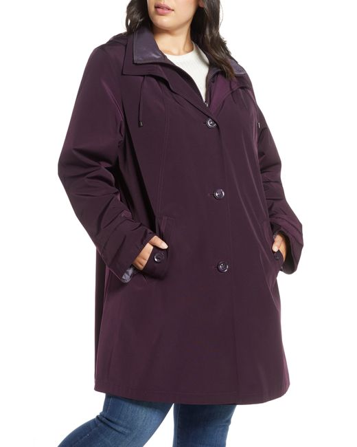 Gallery Purple Hooded Raincoat With Liner