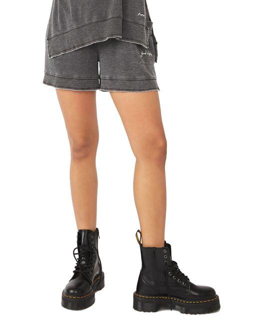 Free People Black Cozy Girl Distressed Drawstring Shorts