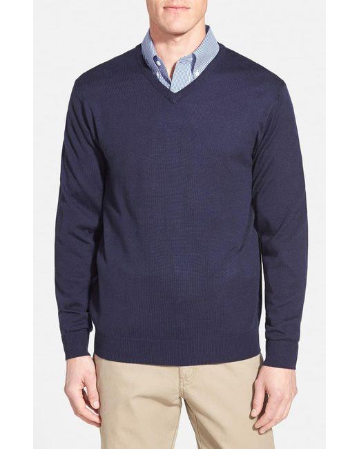 Cutter & Buck Blue Douglas Merino Wool Blend V-neck Sweater for men