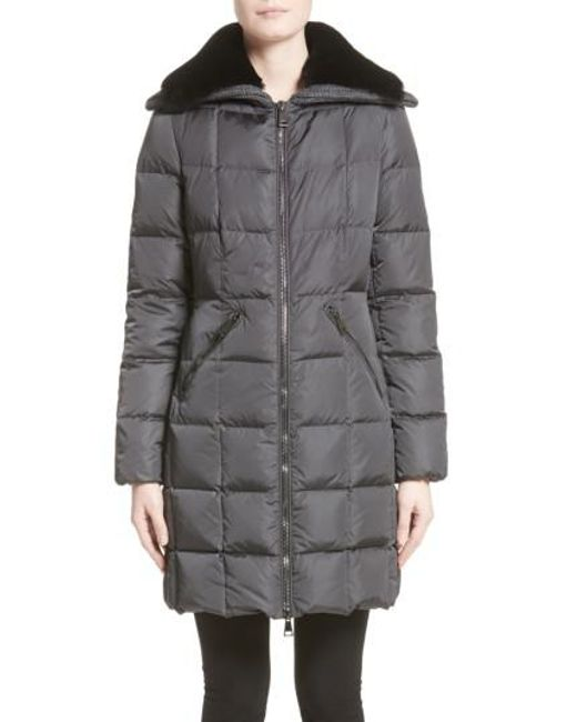 moncler coat moncler coat; moncler gray davidia quilted down coat with removable genuine lamb fur collar lyst