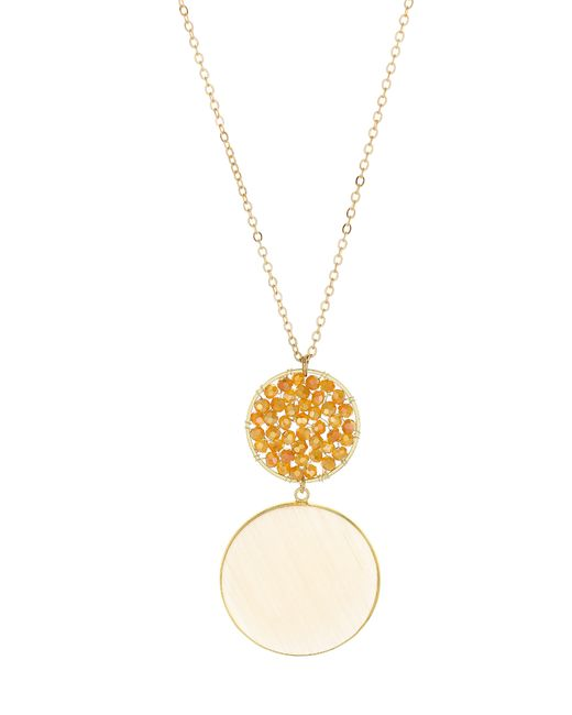 Panacea - Metallic Agate & Crystal Circle Pendant Necklace - Lyst