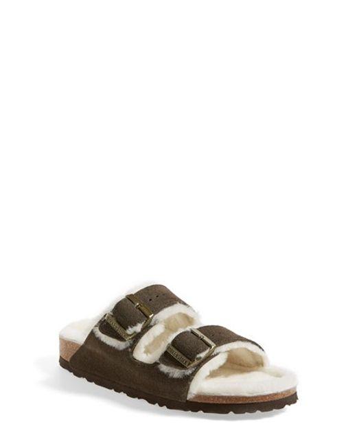 Birkenstock | Brown 'arizona' Genuine Shearling Lined Sandal | Lyst