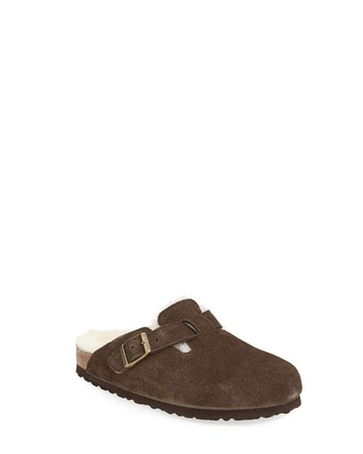 Birkenstock | Brown 'boston' Genuine Shearling Lined Clog | Lyst