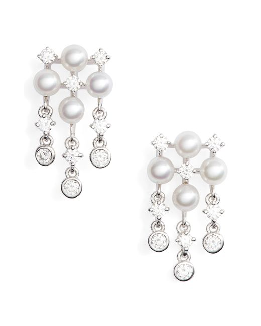 Mikimoto - Metallic Akoya Cultured Pearl & Diamond Earrings - Lyst