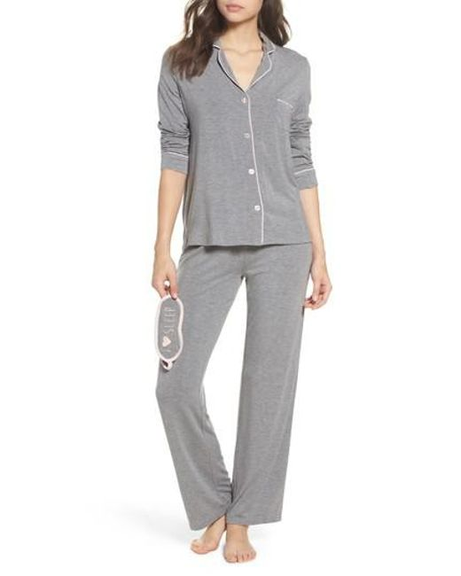Pj Salvage | Gray Stretch Modal Pajamas & Eye Mask | Lyst