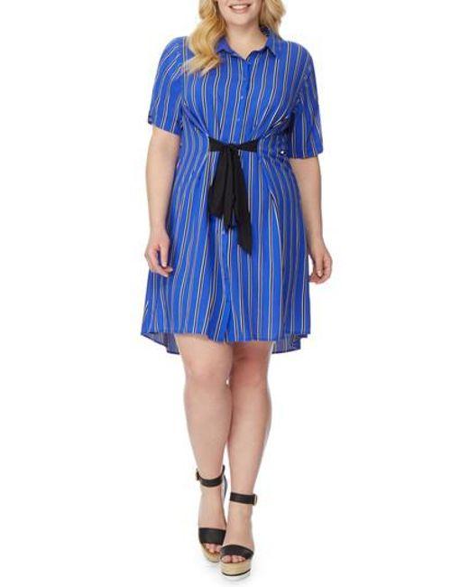 REBEL WILSON X ANGELS - Blue Tie Waist Shirtdress - Lyst