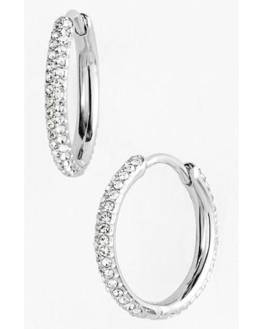 Nadri | Metallic Small Pave Hoop Earrings (nordstrom Exclusive) | Lyst
