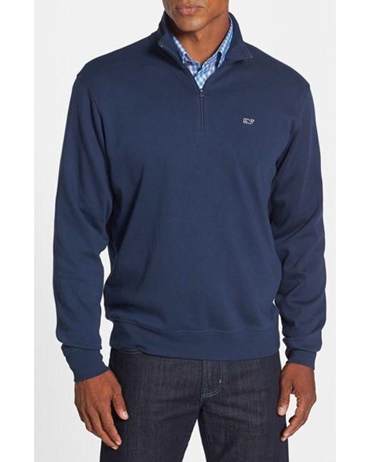 Vineyard Vines | Blue Quarter Zip Cotton Jersey Sweatshirt for Men | Lyst