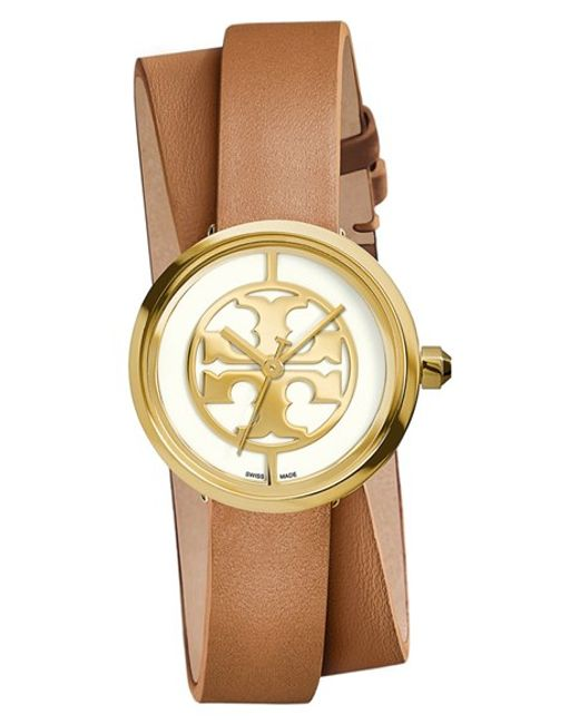Tory Burch | Metallic 'reva' Logo Dial Double Wrap Leather Strap Watch | Lyst