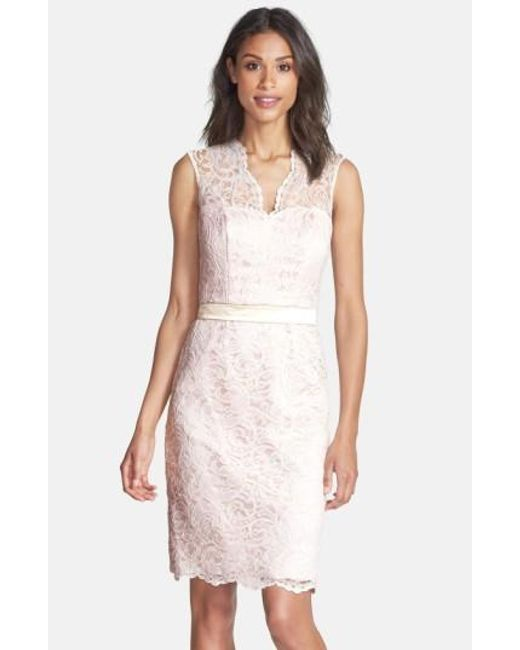 Dessy Collection | Pink Lace Overlay Matte Satin Dress | Lyst