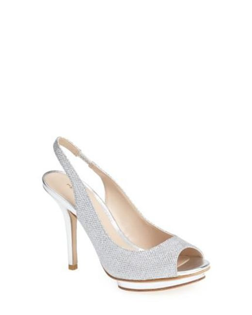 Pelle Moda | Metallic 'rivka' Open Toe Platform Slingback Sandal | Lyst
