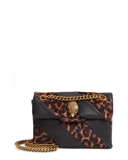 Kurt Geiger Brown Mini Soho Leather & Genuine Calf Hair Shoulder Bag