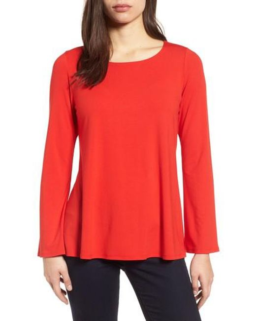 Eileen Fisher | Red Ballet Neck Jersey Top | Lyst