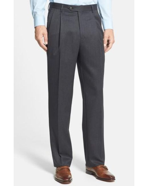 Berle | Gray Pleated Wool Gabardine Trousers for Men | Lyst