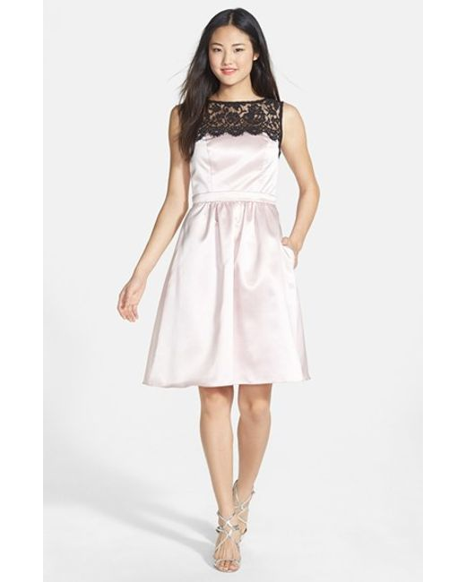 After Six | Pink Sleeveless Lace & Satin Cocktail Dress | Lyst