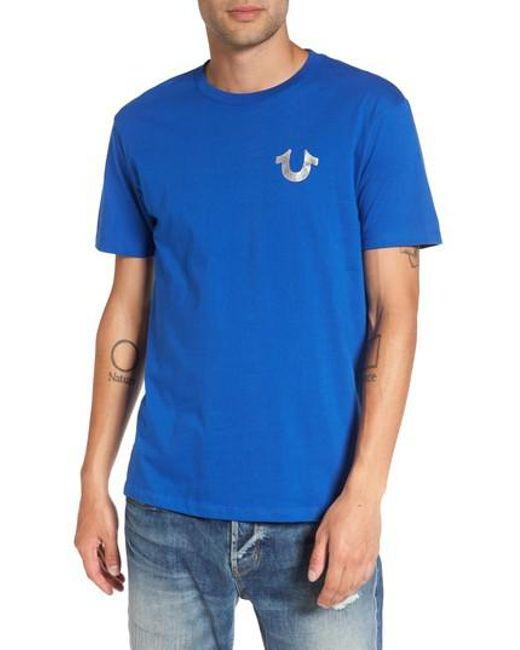 True Religion | Blue True Religion Silver Buddha T-shirt for Men | Lyst
