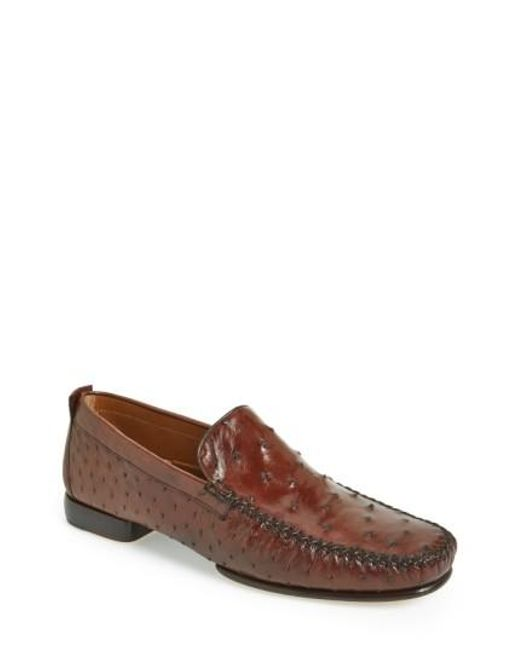 Mezlan   Brown 'rollini' Ostrich Leather Loafer for Men   Lyst