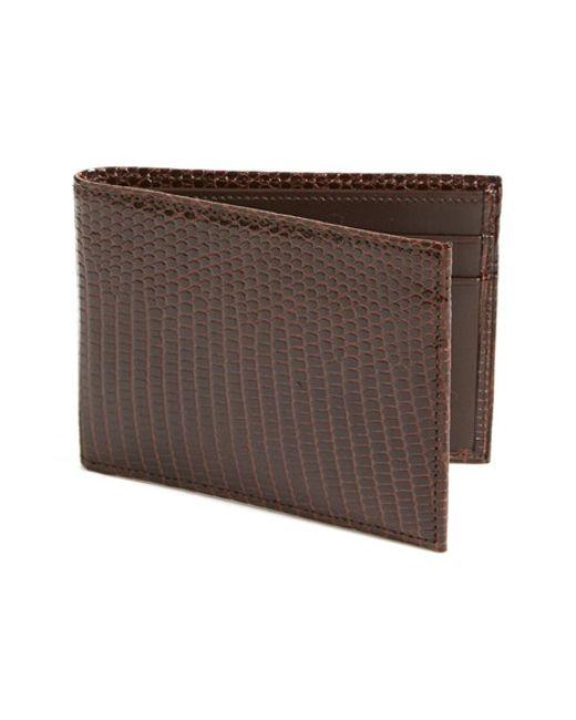 Boconi | Brown Lizard Slimfold Wallet for Men | Lyst