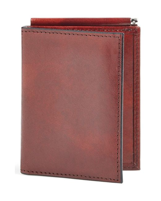 Bosca Brown Old Leather Money Clip Wallet for men
