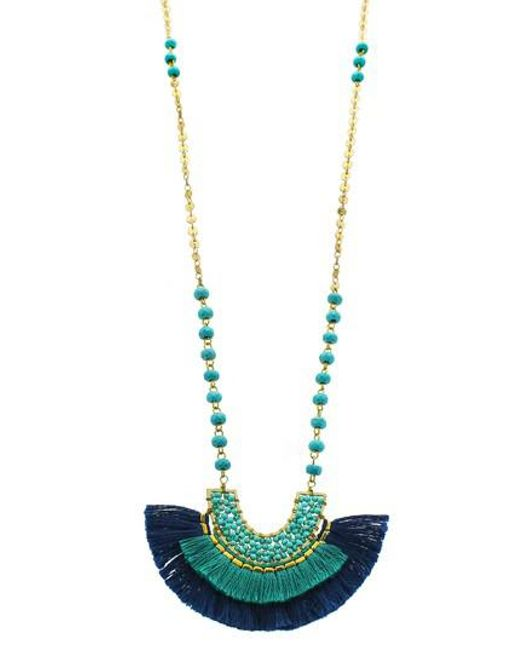 Panacea - Blue Fringe Pendant Necklace - Lyst