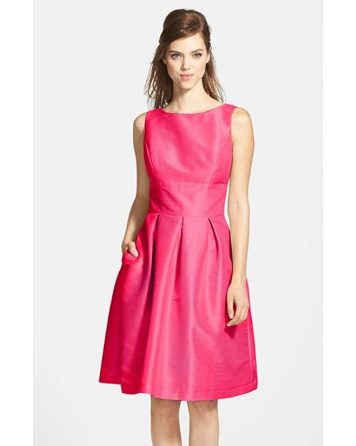 Alfred Sung | Pink Dupioni Fit & Flare Dress | Lyst