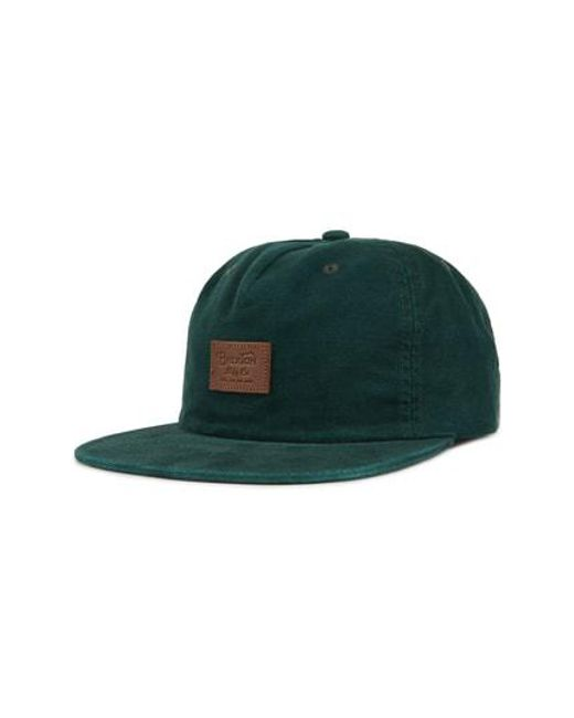 5b93a64d503 Lyst - Brixton Grade Ii Uc Snapback Baseball Cap in Green for Men
