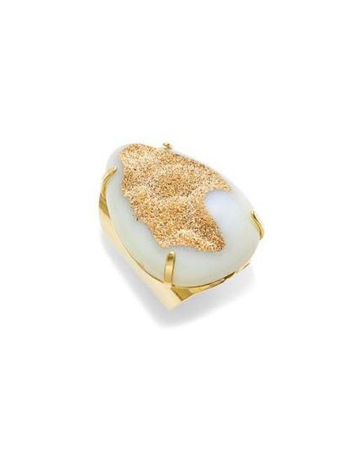 Nakamol - White Teardrop Drusy Agate Adjustable Ring - Lyst