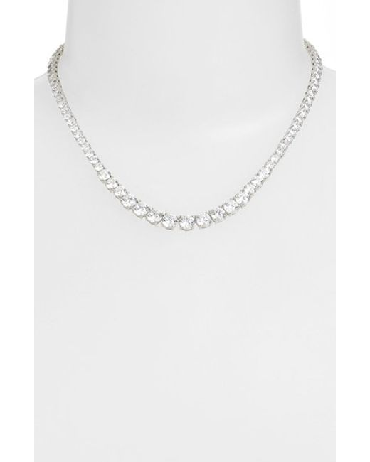 Nadri | Metallic Cubic Zirconia Collar Necklace | Lyst