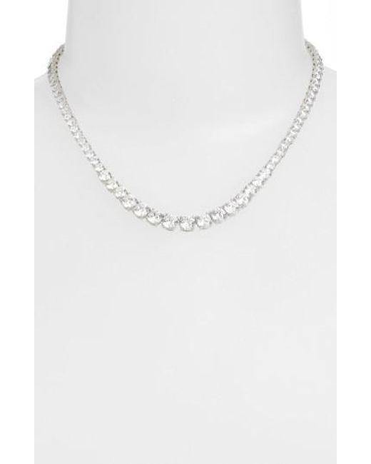 Nadri | Metallic Cubic Zirconia Collar Necklace | Lyst