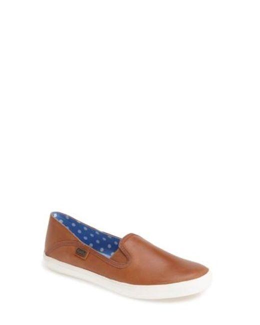 Keds | Brown Keds 'crashback' Leather Slip-on | Lyst
