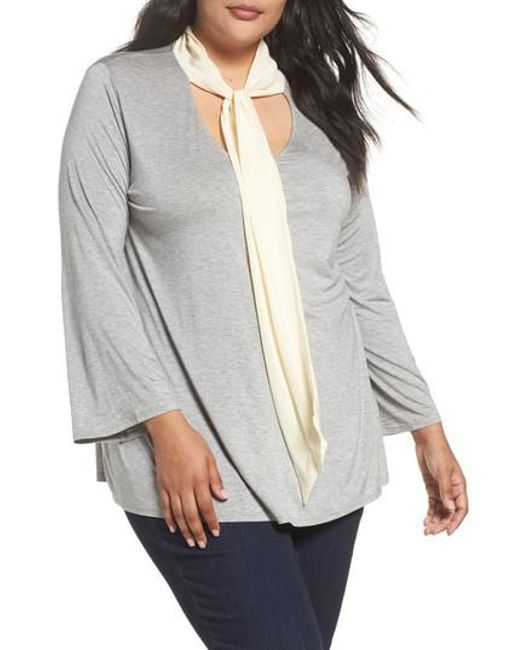 Three Dots | Gray Tie Neck Jersey Top | Lyst