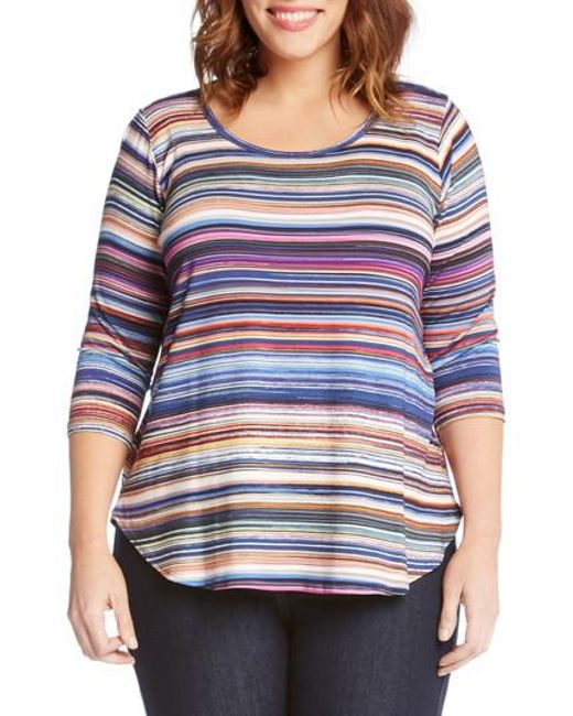 Karen Kane - Blue Newport Stripe Shirttail Top - Lyst