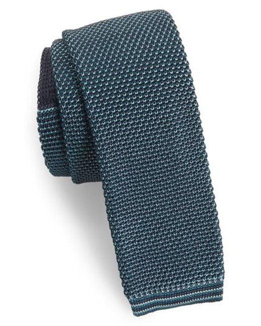Ted Baker - Blue Birdseye Knit Silk Skinny Tie for Men - Lyst