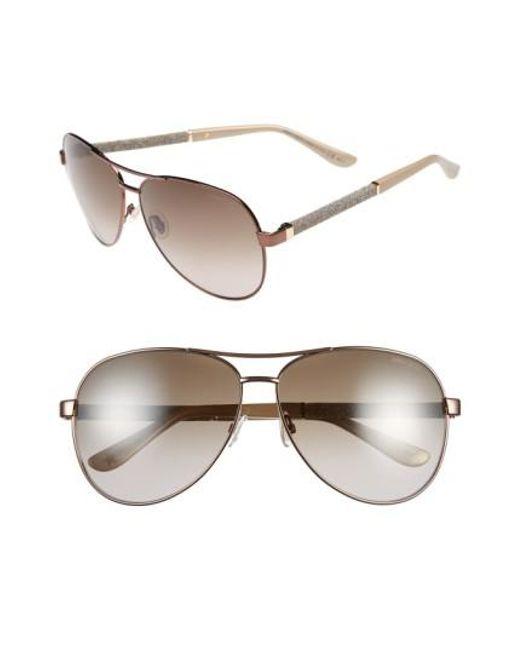 Jimmy Choo   Metallic 61mm Aviator Sunglasses - Bronze   Lyst