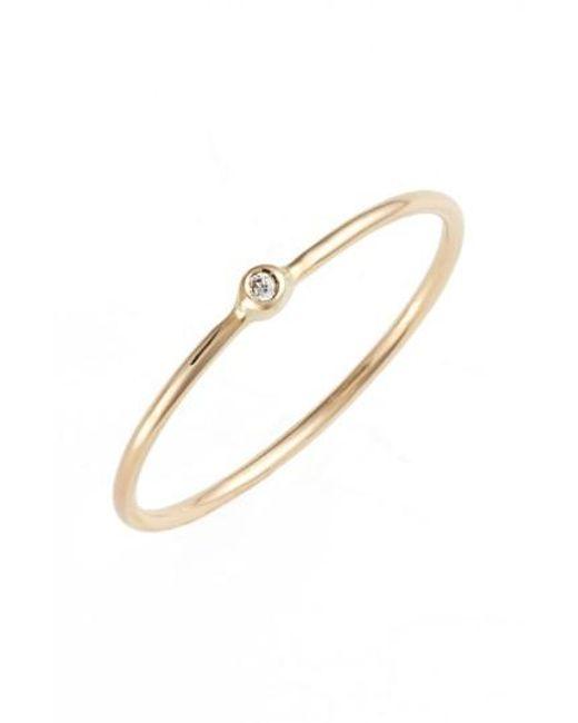 Zoe Chicco - Metallic Diamond Bezel Ring - Lyst