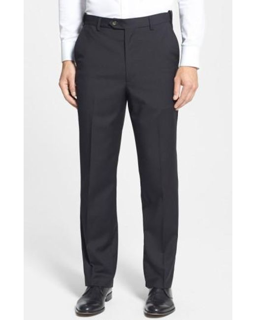 Berle - Blue Self Sizer Waist Flat Front Wool Trousers for Men - Lyst