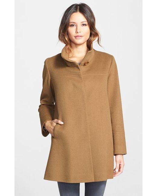 Fleurette | Brown Wool Stand Collar Car Coat | Lyst