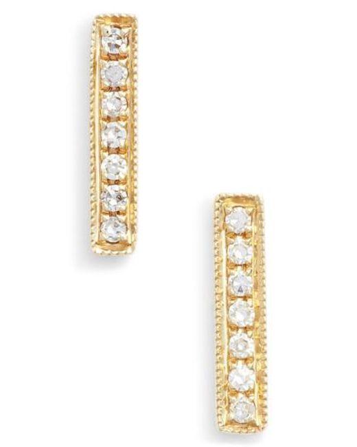 Dana Rebecca - Metallic 'sylvie Rose' Diamond Bar Stud Earrings - Lyst