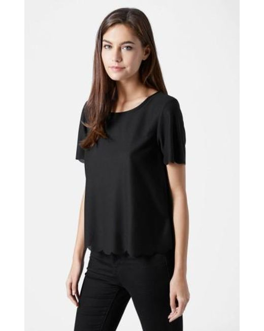 TOPSHOP | Black Scallop Frill Tee | Lyst