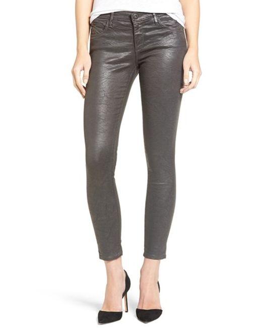 AG Jeans | Legging Ankle Super Skinny Jeans In Coated Black | Lyst