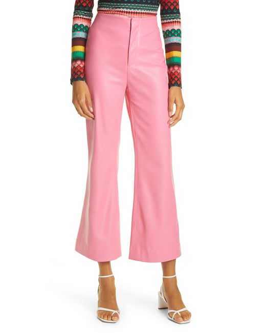 Alice + Olivia Pink Lorinda High Waist Crop Flare Faux Leather Pants