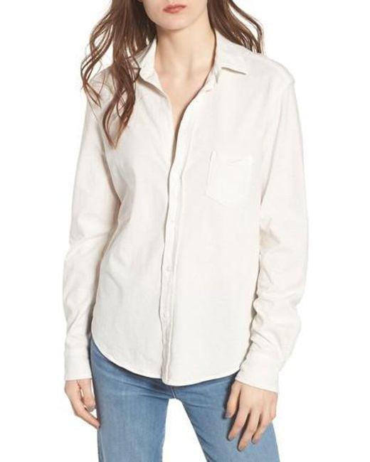 Frank & Eileen - White Eileen Jersey Button Front Shirt - Lyst