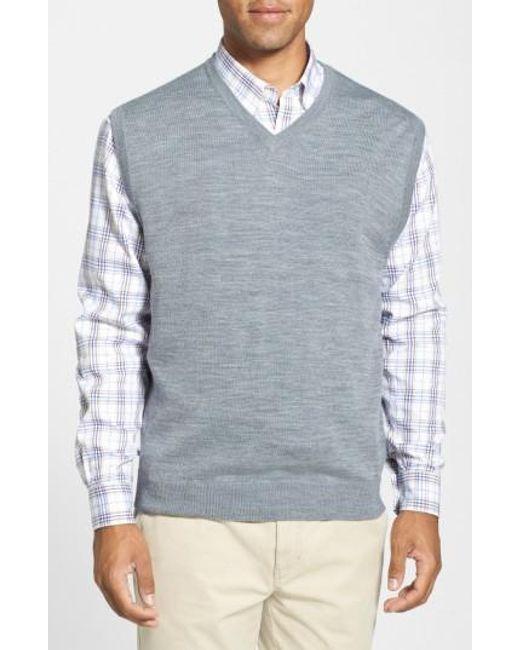 Cutter & Buck | Gray 'douglas' Merino Wool Blend V-neck Sweater Vest for Men | Lyst