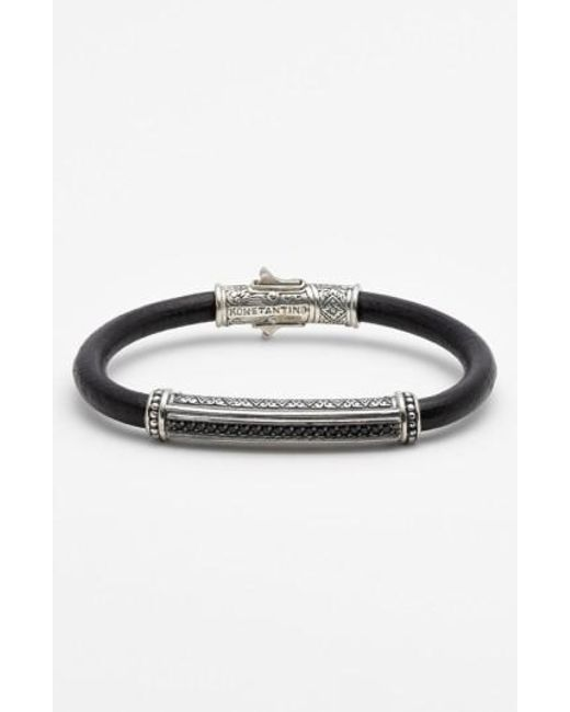Konstantino | Metallic 'plato' Leather Bracelet | Lyst