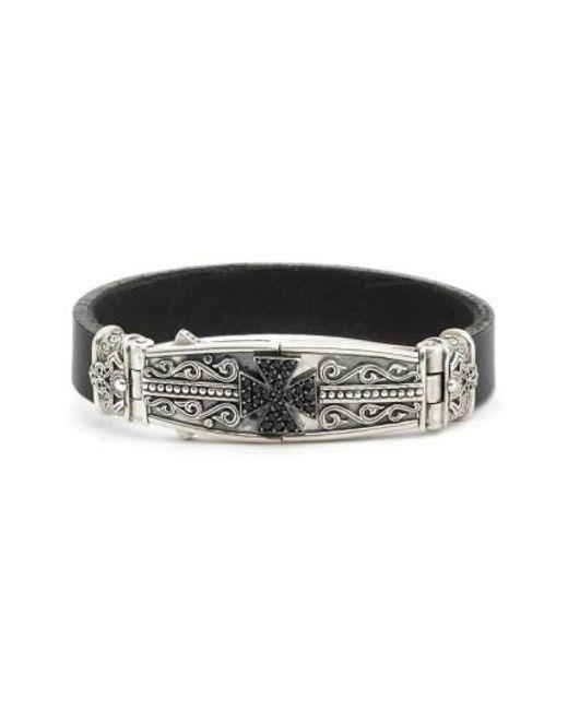 Konstantino   Metallic Plato Maltese Cross Leather Bracelet for Men   Lyst