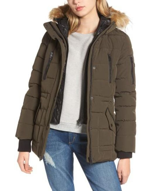Guess | Green Vestee Anorak With Faux Fur Trim | Lyst