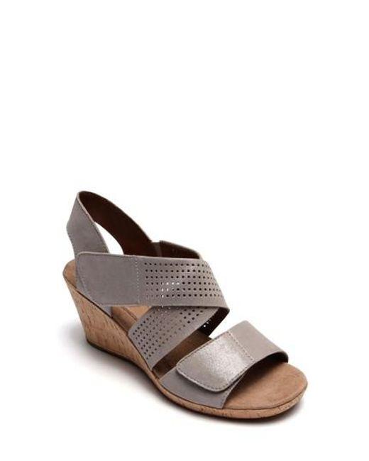 Cobb Hill - Brown Janna Cross Strap Wedge Sandal - Lyst